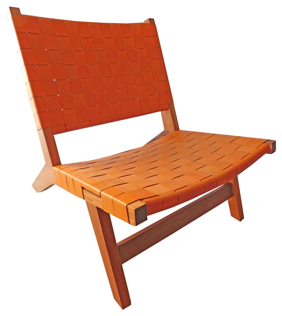 Leather Woven Lounge Chair Orange Armchairs And Accent Chairs By NICAHOM