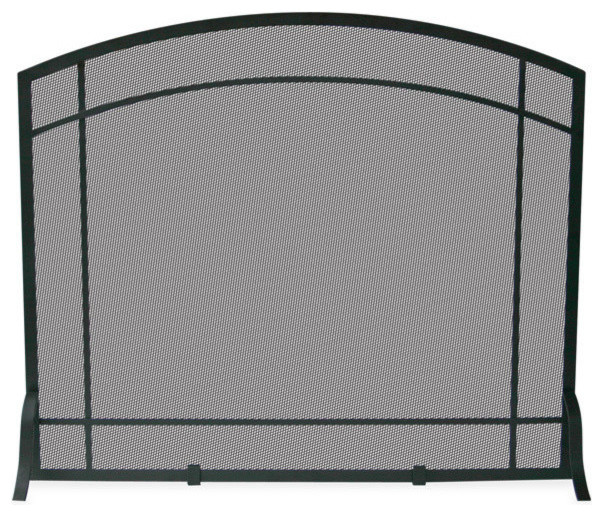Uniflame S 1029 Single Panel Black Wrought Iron Mission Screen Traditional Fireplace Screens