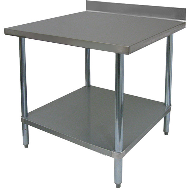 24 deep commercial duty stainless steel flat top work table modern kitchen islands and - Commercial stainless steel kitchen island ...