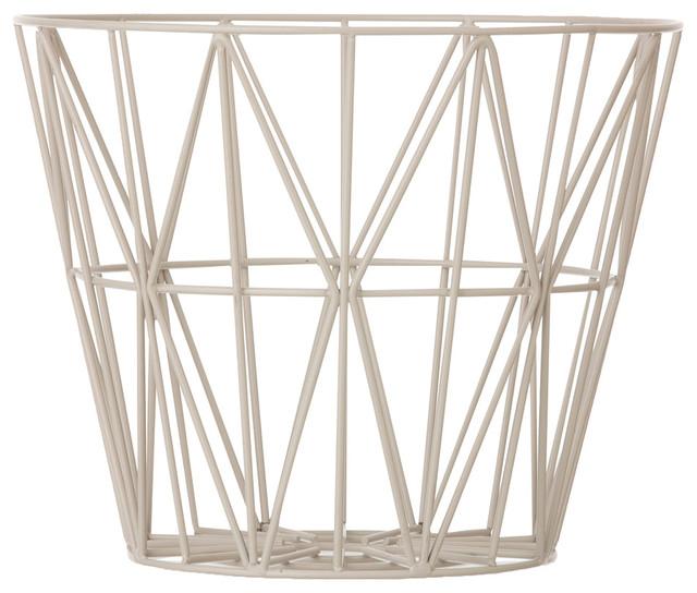 ferm living grey wire basket. Black Bedroom Furniture Sets. Home Design Ideas