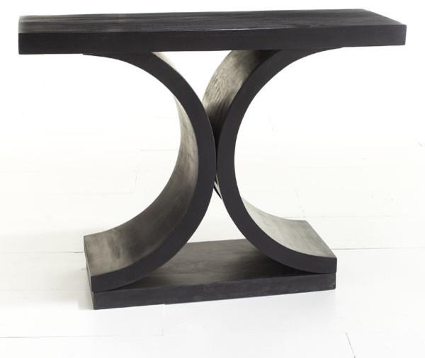 Modern Black Foyer Table : Mid century modern console table black side