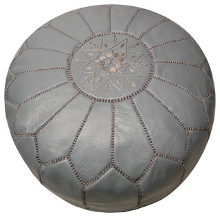 Moroccan Leather Pouf - Mediterranean - Floor Pillows And Poufs - by Moroccan Prestige