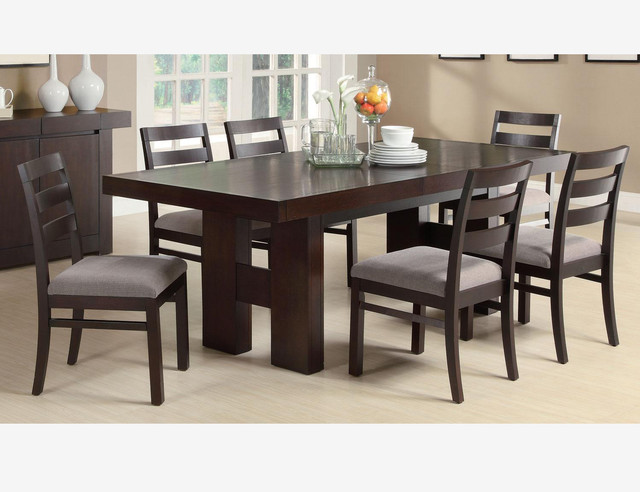 7 PC Cappuccino Wood Dining Room Set Leaf Table Chairs Fabric Seat Contempo