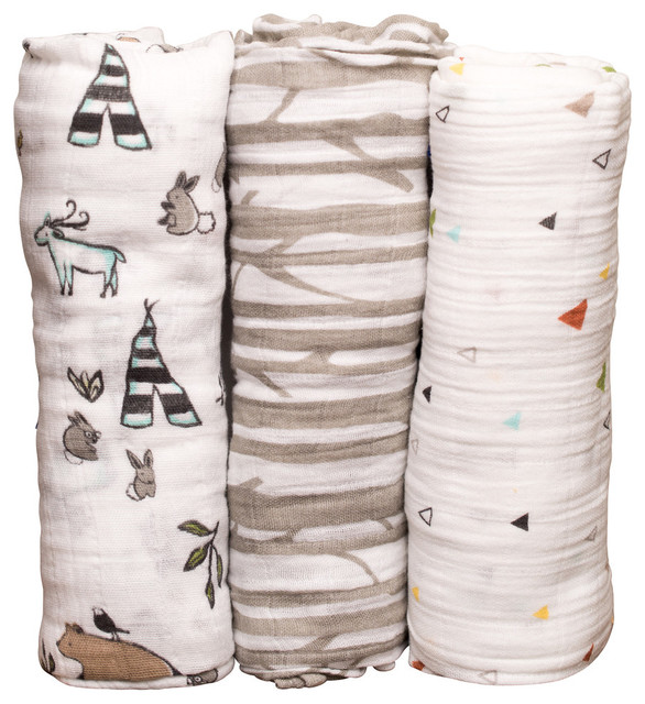 Cotton Muslin Swaddle Set Forest Friends Contemporary