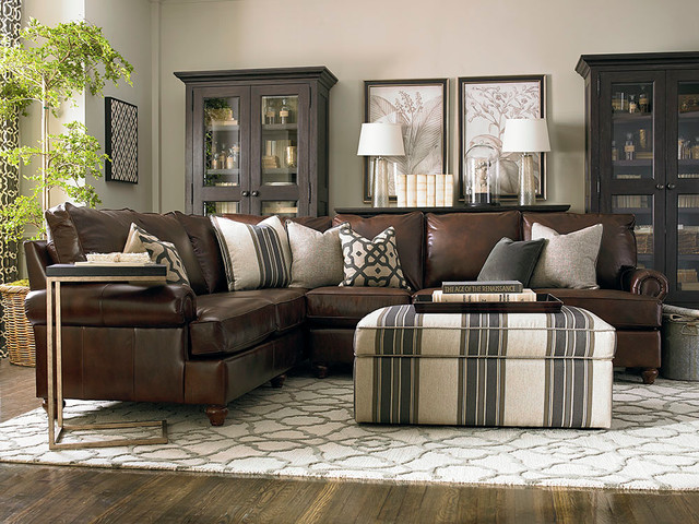 Custom Leather Montague L Shaped Sectional By Bassett