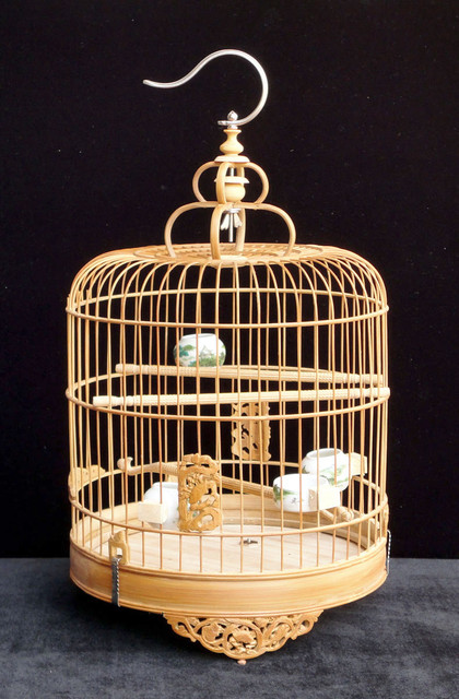 Chinese Bamboo Round Carving Motif Birdcage Display