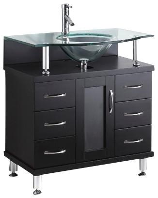 Vincente Single Bathroom Vanity Cabinet With Round Sink 32 Espresso