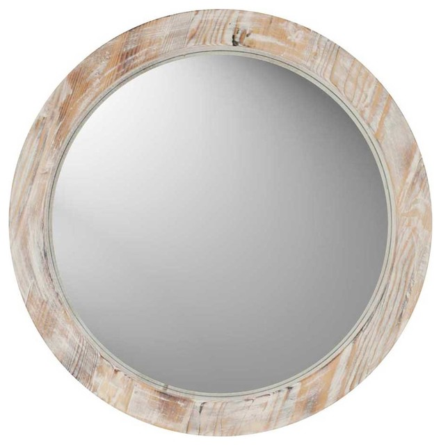 Round washed wood mirror contemporary wall mirrors for Round wood mirror