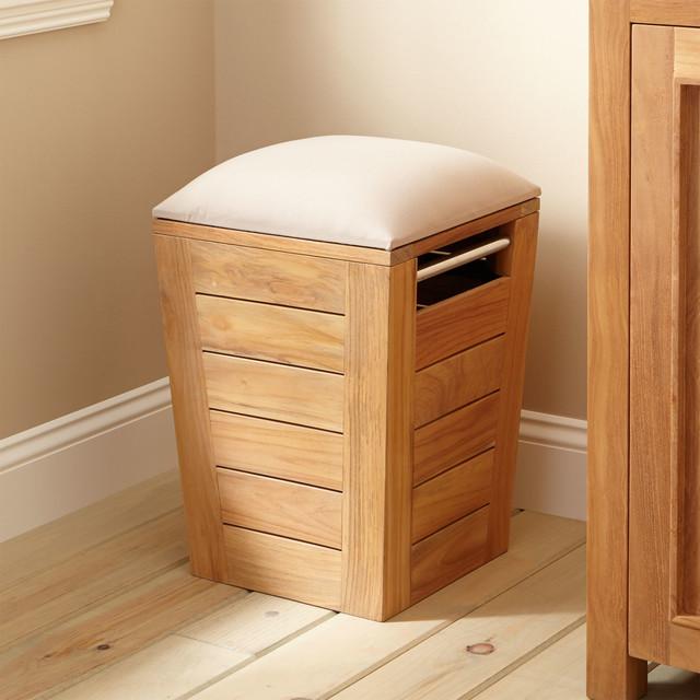 Teak Laundry Hamper Stool Small Traditional Bathroom  : traditional bathroom cabinets and shelves from houzz.co.uk size 640 x 640 jpeg 86kB
