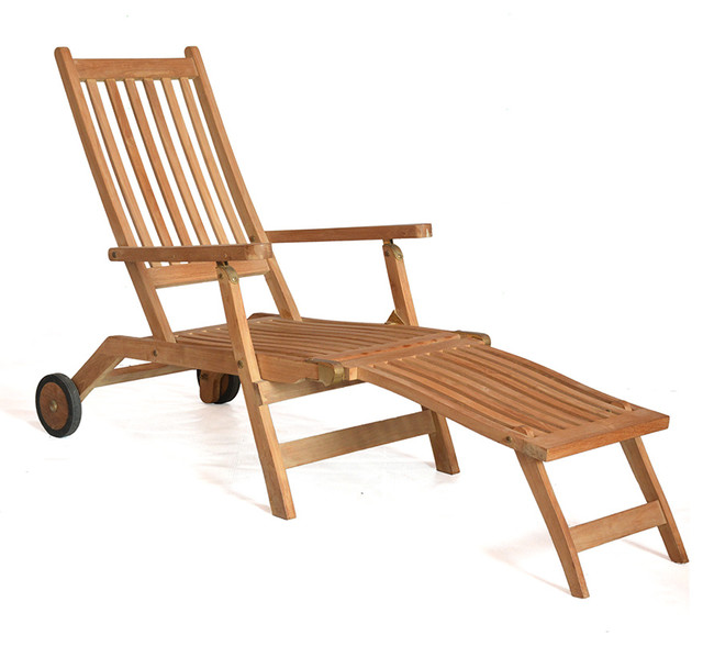 Teak Deckchair Steamer Lounge With Wheels Lady Wilson Contemporary Outdoo