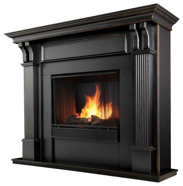 ashley real flame gel fireplace black traditional indoor fireplaces by cymax. Black Bedroom Furniture Sets. Home Design Ideas
