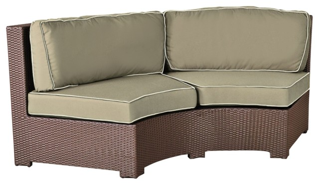 Elements Weave Taupe Canvas Curved Outdoor Sofa