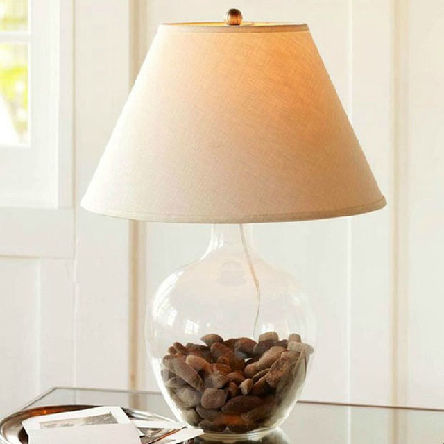country blown glass and flax shade table lamp beach. Black Bedroom Furniture Sets. Home Design Ideas