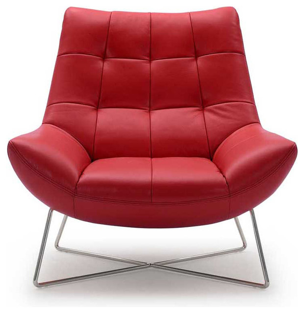 Medici Tufted Leather Accent Chair Red Contemporary