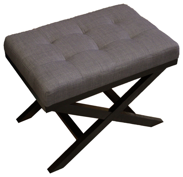 upholstered x leg ottoman charcoal grey contemporary footstools and ottomans
