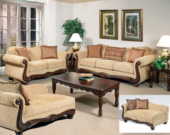 Thunder Brass Sofa and Loveseat Set Traditional Sofas