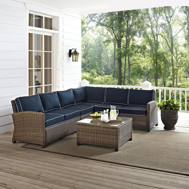Crosley Biltmore 5Piece Outdoor Wicker Seating Set With Navy Cushions Conte