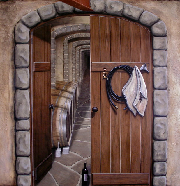 Wine cellar trompe l 39 oeil mural mediterranean other for Deco trompe l oeil mural
