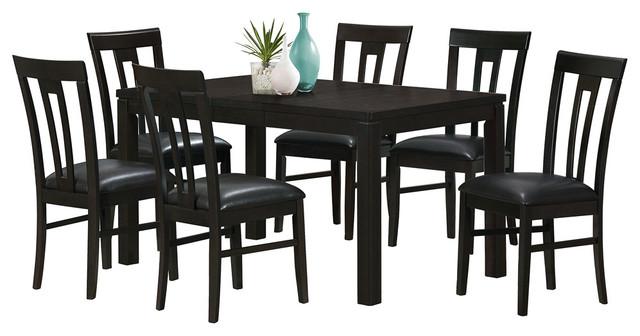 Monarch Specialties 7 Piece Cappuccino Ash Veneer 36x48 60 Dining Room Set W