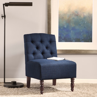 Lola Navy Tufted Armless Chair Contemporary Armchairs And Accent Chairs