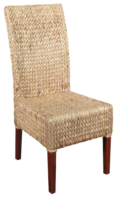 Solid mahogany woven wicker occasional parson side chair