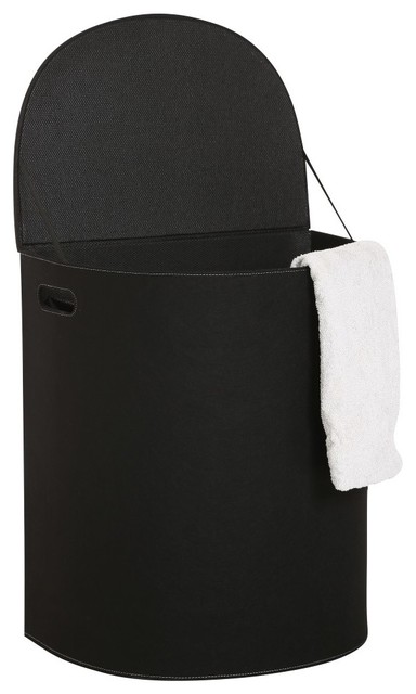 Cinas Morom Laundry Hamper With Lid Black Contemporary