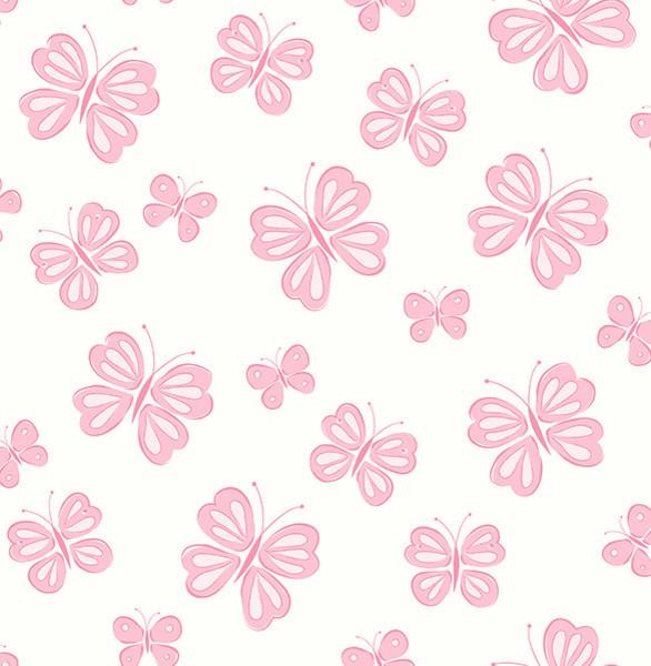 Pink Butterfly Wall Decoration : Butterflies pink wallpaper contemporary