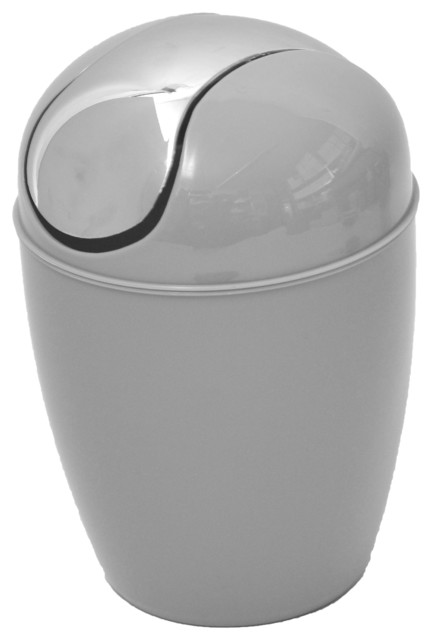 Bathroom Mini Waste Basket Countertop Trash Can Light Gray Chrome Lid Contemporary