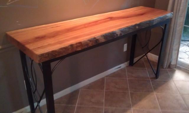 Kitchen island live edge wood slab modern richmond for Live edge kitchen island