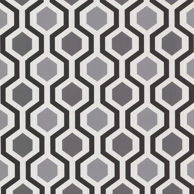 347 20133 Marina Modern Geometric Black And White Trellis