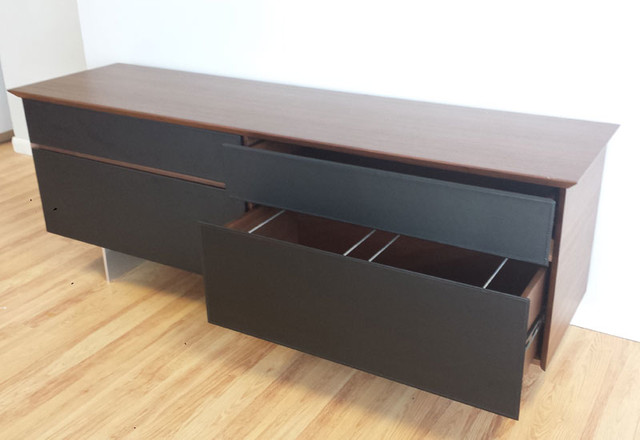 Avenue storage credenza in walnut black leather modern for Modern office credenza furniture