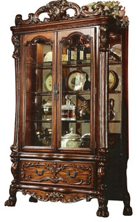 Dresden Cherry Oak Finish Wood Curio Cabinet with Glass Front Doors and Sides - Traditional ...
