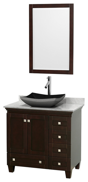 36 acclaim sinkgle vanity white carrera marble top for Marble top console sink
