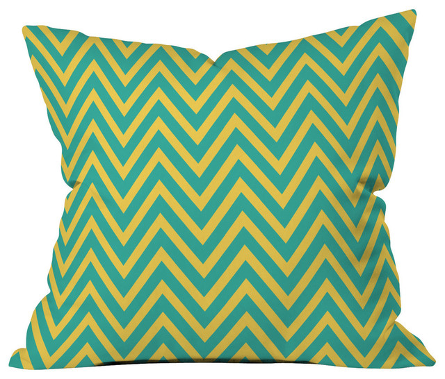 Modern Teal Decorative Throw Pillow : Allyson Johnson Teal Chartreuse Chevron Throw Pillow - Contemporary - Decorative Pillows - by ...