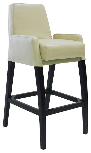 "30"" Baldwin Stationary Barstool in Cream Leather - Modern - Bar Stools And Counter Stools"