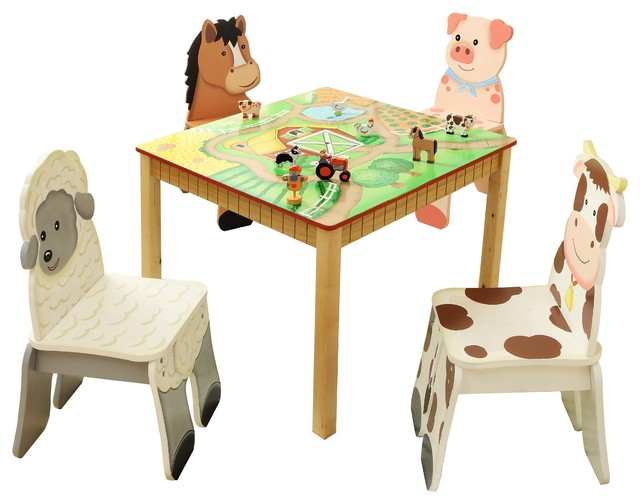 happy farm hand crafted kids wooden table and 4 chairs set