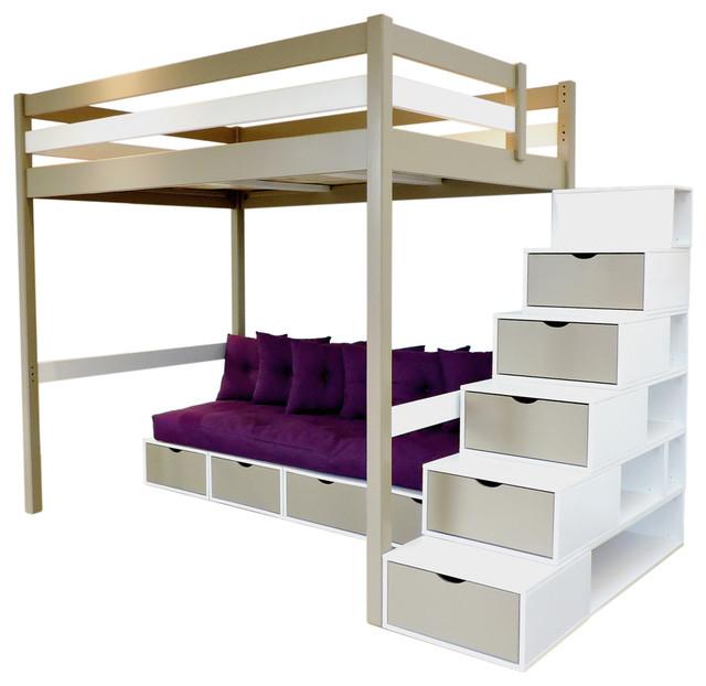 Lit mezzanine sylvia escalier cube banquette cube futon - Lit mezzanine moderne ...