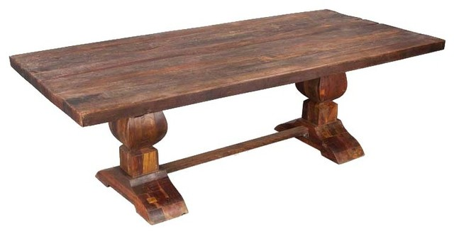 sierra rustic reclaimed wood trestle large dining room