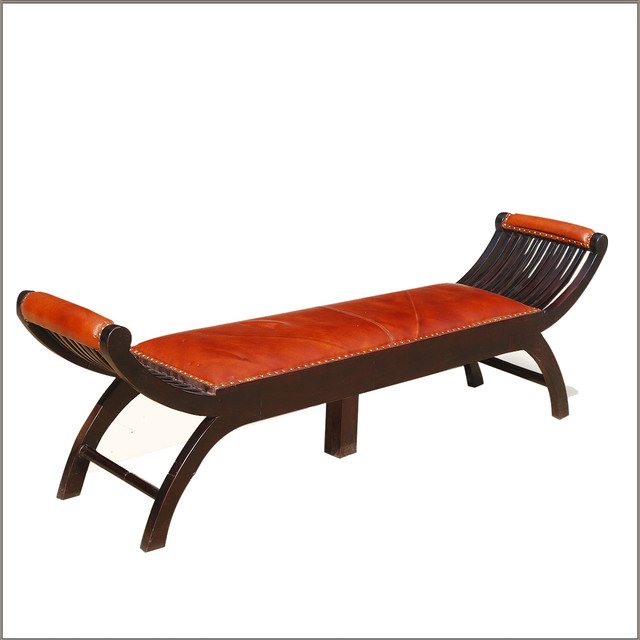 Contemporary mango wood leather chaise lounge bench for Chaise bench storage