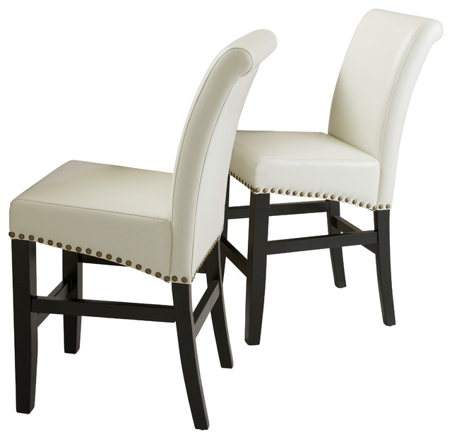 Carmen Leather Stools Set Of 2 Ivory Counter Height