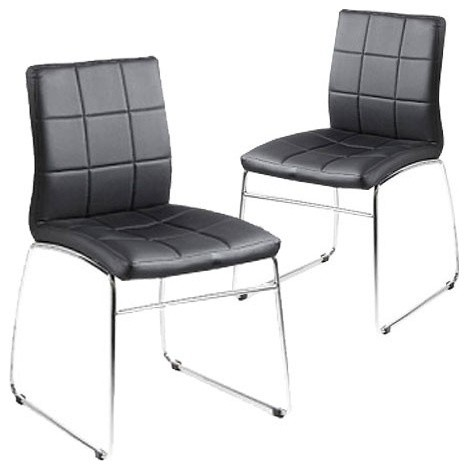 set of 2 black kensington dining chair milan direct
