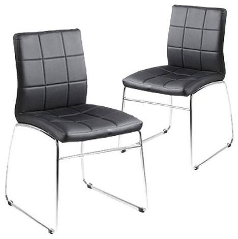 set of 2 black kensington dining chair milan direct