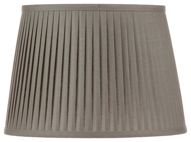 Grey Linen Knife Pleated Drum Lampshade Contemporary