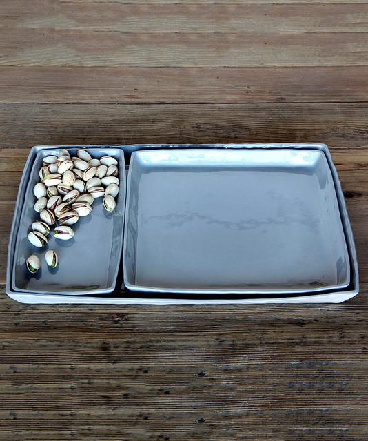 Fleet Ceramic Tray - Small Rectangle - Grey - Contemporary - Serveware - by Bliss Home & Design
