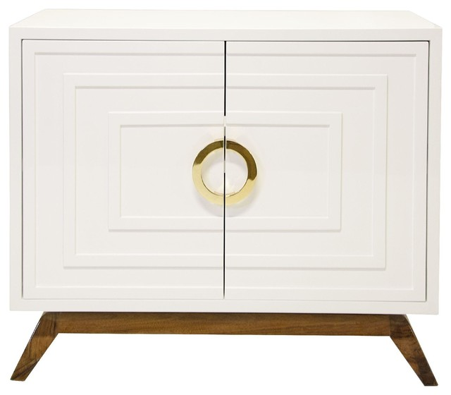 ... White Lacquer Two Door Cabinet traditional-display-and-wall-shelves