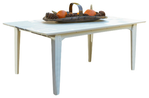 Hourglass 85 dining table white distressed for Distressed white dining table