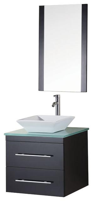 Design Element Portland Wall Mounted Single Vessel Sink Vanity Set Modern Bathroom Vanities