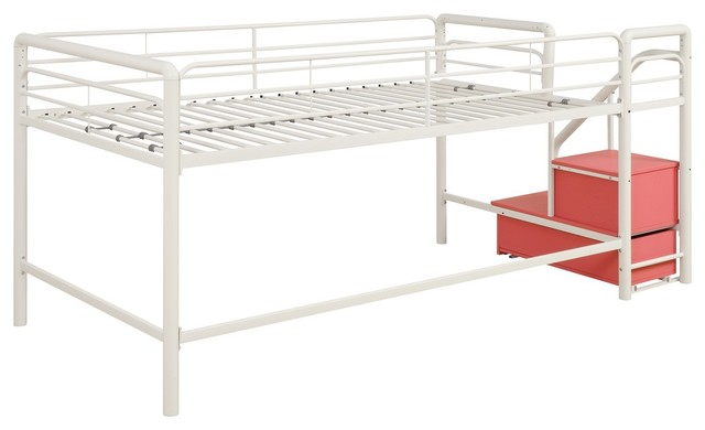 dhp junior pink and white twin loft bed with storage steps 1