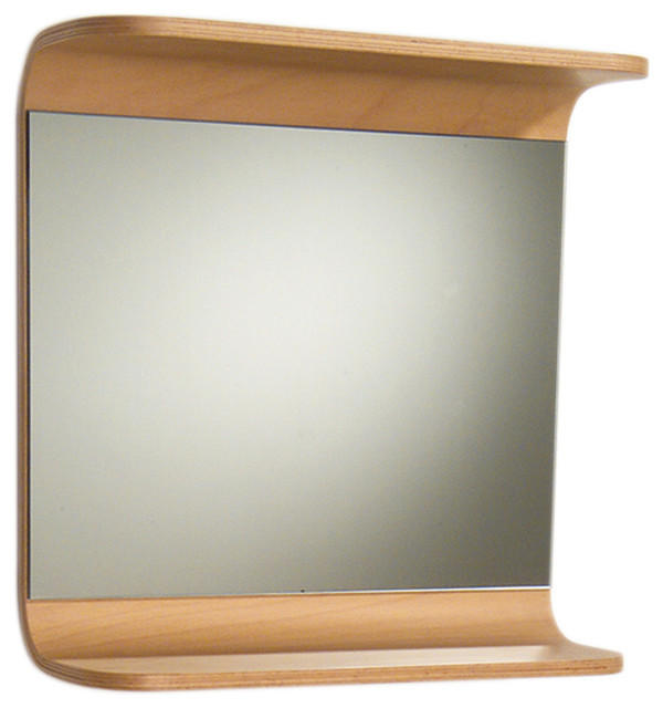 Aeri Rectangular Mirror With Integral Wood Shelf Modern Bathroom Mirrors