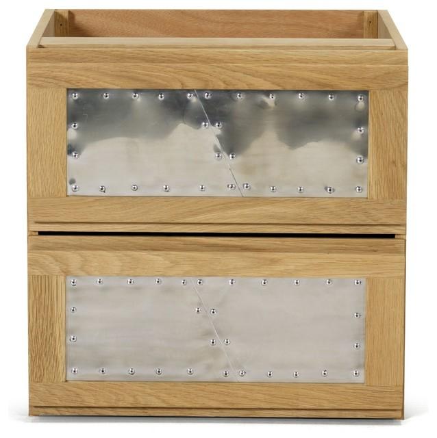 tassia bloc de 2 tiroirs l40cm fa ades alu rivet contemporain commode et chiffonnier par. Black Bedroom Furniture Sets. Home Design Ideas